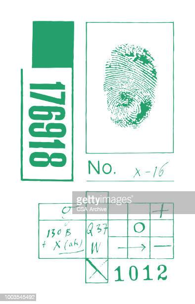 fingerprint diagram - arrest stock illustrations, clip art, cartoons, & icons