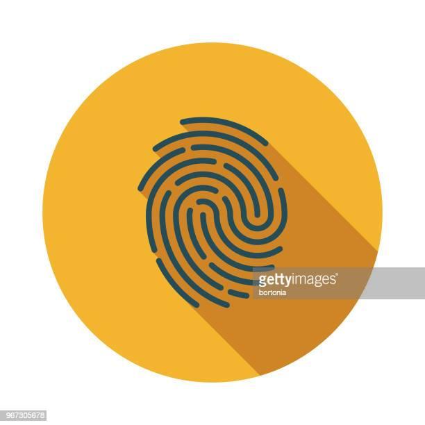 ilustraciones, imágenes clip art, dibujos animados e iconos de stock de huella digital diseño plano crimen & castigo icono - huella dactilar