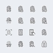 Fingerprint icon set, thin line design
