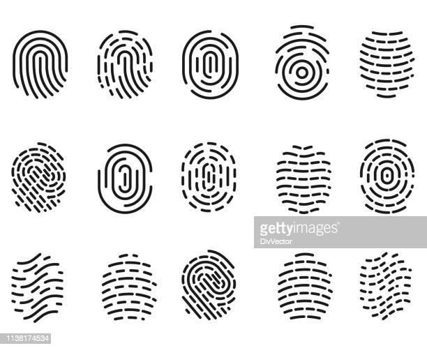 ilustraciones, imágenes clip art, dibujos animados e iconos de stock de el icono de huella dactilar - huella dactilar