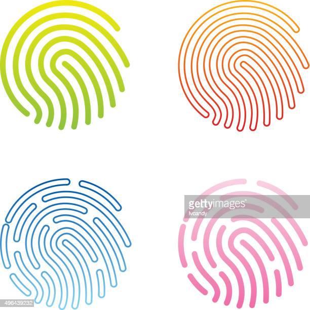 ilustraciones, imágenes clip art, dibujos animados e iconos de stock de huella dactilar icono - huella dactilar