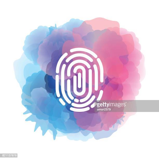 Fingerprint icon with watercolor backgorund