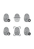 Fingerprint icons. Authorization, identification symbol. Security and surveillance system