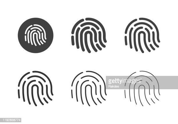 fingerprint icons - multi series - fingerprint scanner stock illustrations