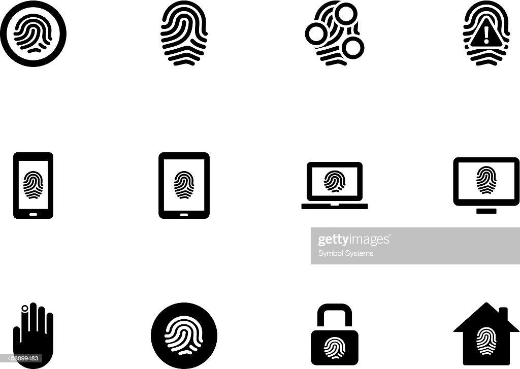 Fingerprint icons on white background.