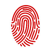 Fingerprint ID line art icon for apps with security unlock – stock vector