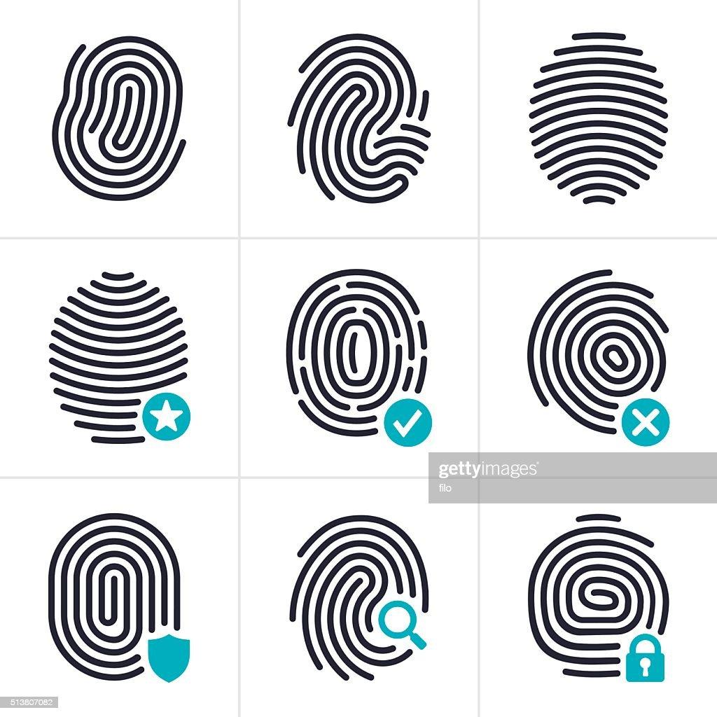 Fingerprint Identity and Security Symbols : stock illustration