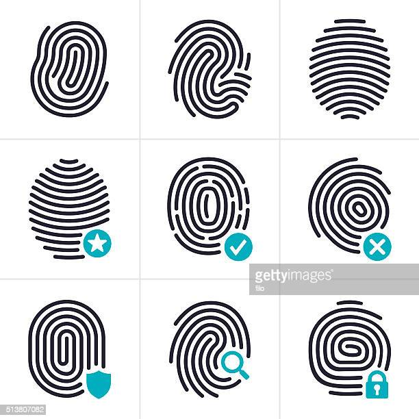 fingerprint identity and security symbols - verification stock illustrations, clip art, cartoons, & icons