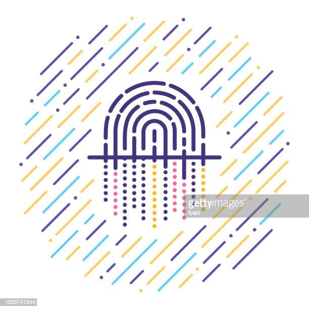 fingerprint line icon - personal information stock illustrations, clip art, cartoons, & icons