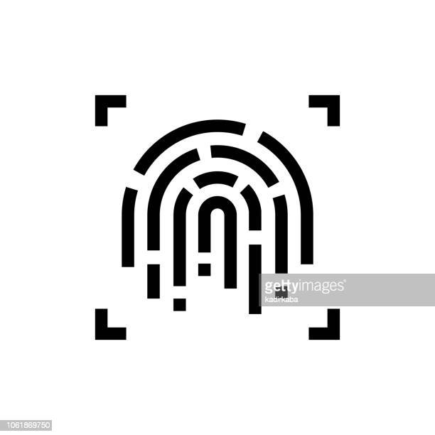fingerprint line icon - thumb stock illustrations