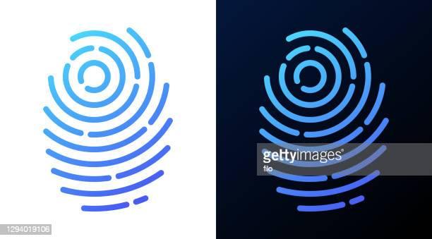 fingerprint line symbol - fingerprint scanner stock illustrations