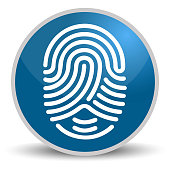 Fingerprint on blue glossy round vector icon in eps 10. Editable modern design internet button on white background