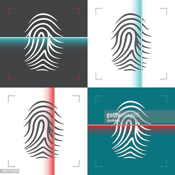 Fingerprint or thumbprint laser scan illustration