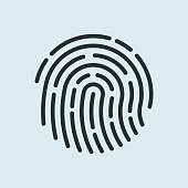 Fingerprint recognition icon. Vector illustration.