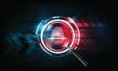 Fingerprint scan, magnify glass, Technology Background, Security concept, vector illustration