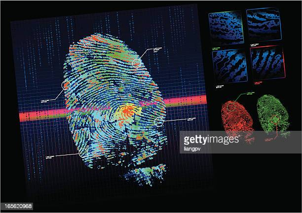 A fingerprint scanner checking a print against a database