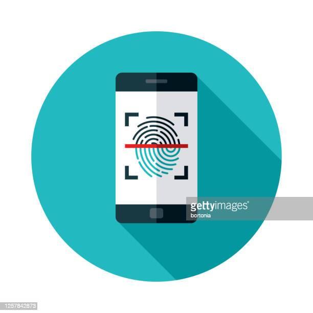 fingerprint scanner online security icon - fingerprint scanner stock illustrations