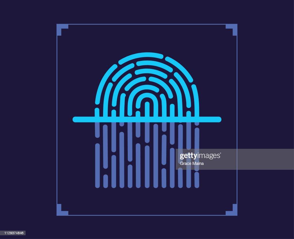 Fingerprint scanner Scanning Fingerprint : stock illustration