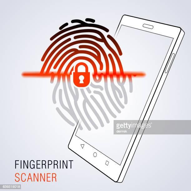 fingerprint scanner - fingerprint scanner stock illustrations