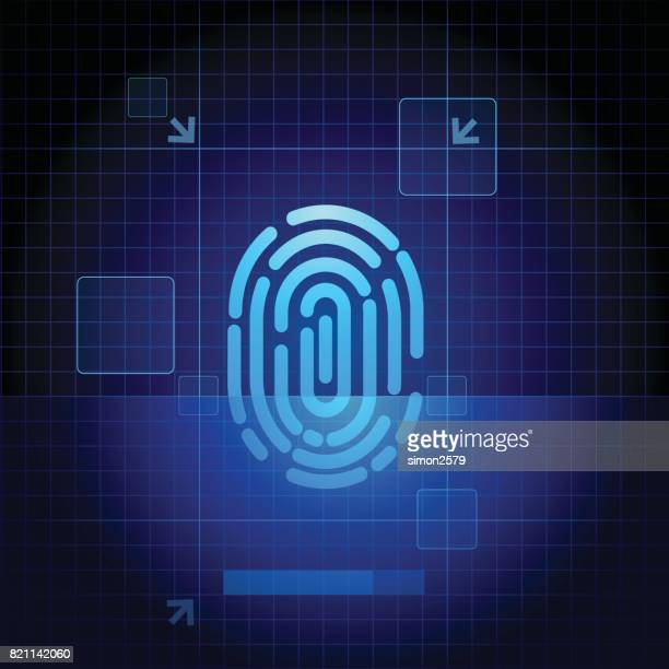 fingerprint scanner with blue technology background - security scanner stock illustrations