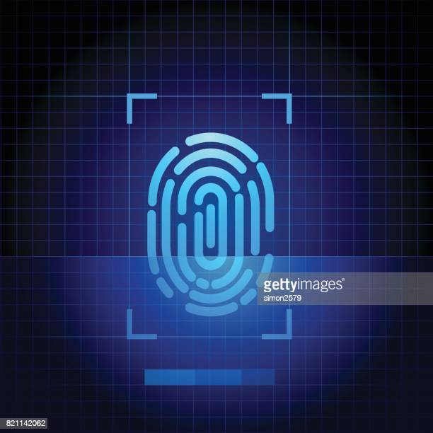 Fingerprint scanner with blue technology background