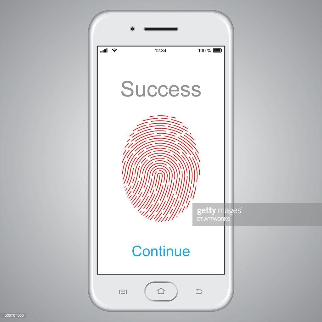 Fingerprint scanning on smart phone. Vector