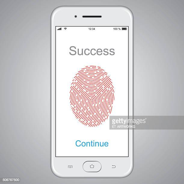 Fingerprint scanning on smart phone. Vector