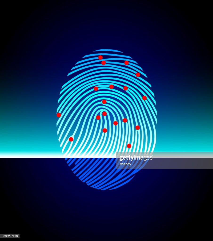 Fingerprint scanning : stock illustration