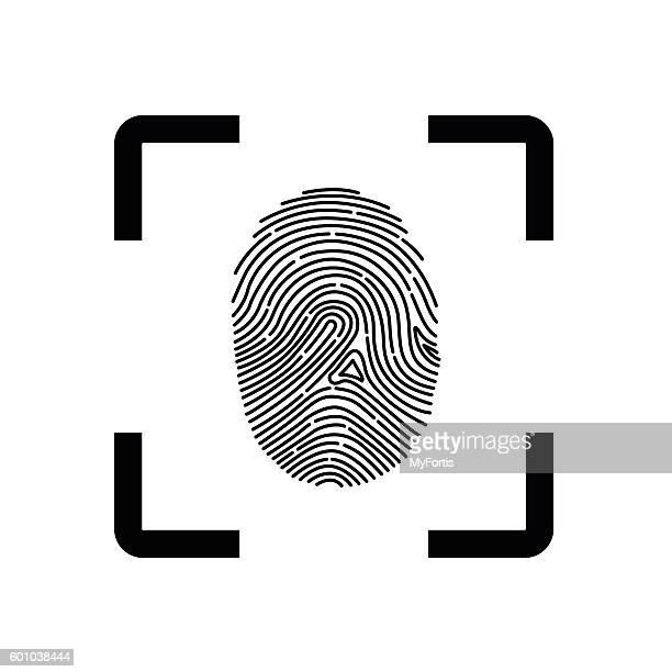 ilustraciones, imágenes clip art, dibujos animados e iconos de stock de fingerprint scope - huella dactilar
