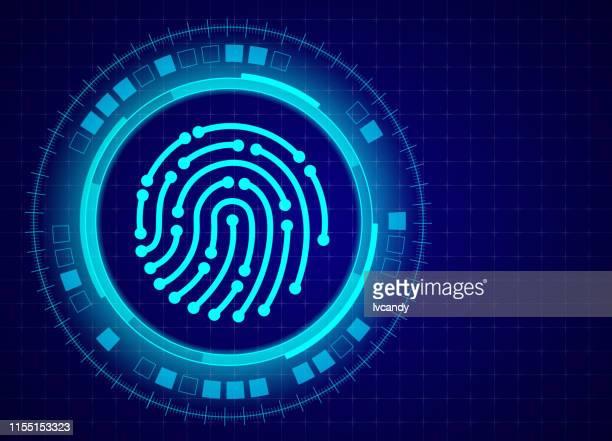 ilustraciones, imágenes clip art, dibujos animados e iconos de stock de seguridad de huellas dactilares - huella dactilar