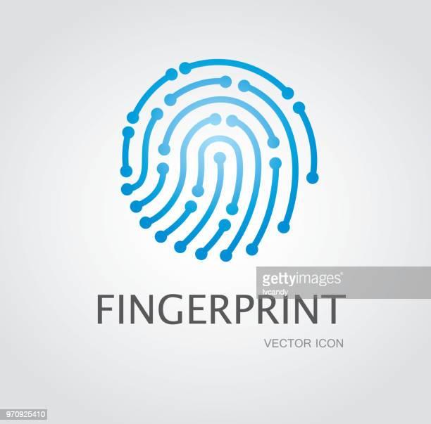 ilustraciones, imágenes clip art, dibujos animados e iconos de stock de símbolo huella dactilar - huella dactilar