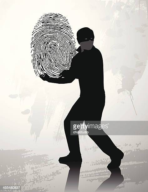 fingerprint thief silhouette - stealing stock illustrations
