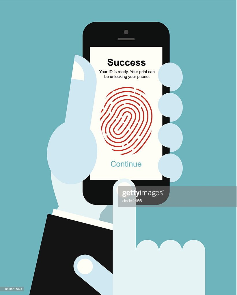 Fingerprint unlock smart phone : stock illustration