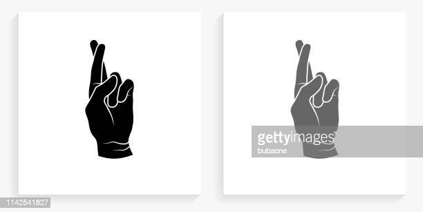 Fingers Crossed Black and White Square Icon
