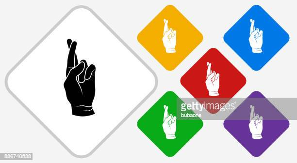 Fingers Crossed Color Diamond Vector Icon