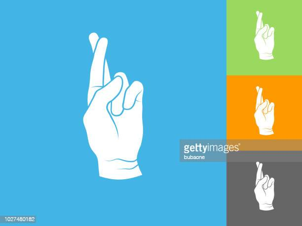 Fingers Crossed  Flat Icon on Blue Background