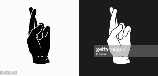 Fingers Crossed Icon on Black and White Vector Backgrounds