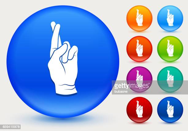 Fingers Crossed Icon on Shiny Color Circle Buttons