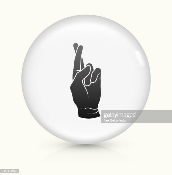 Fingers Crossed icon on white round vector button