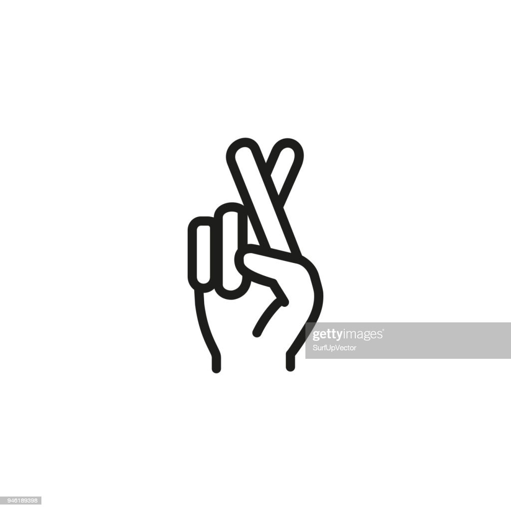 Fingers crossed line icon