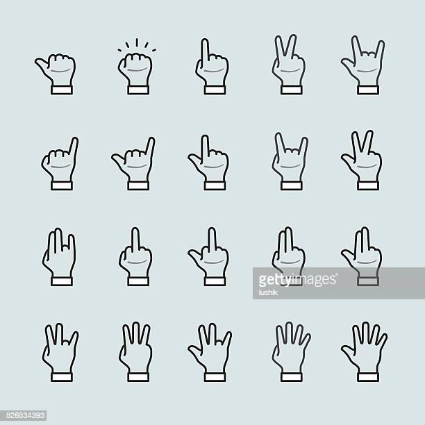 Geste signe de la main et doigts icône