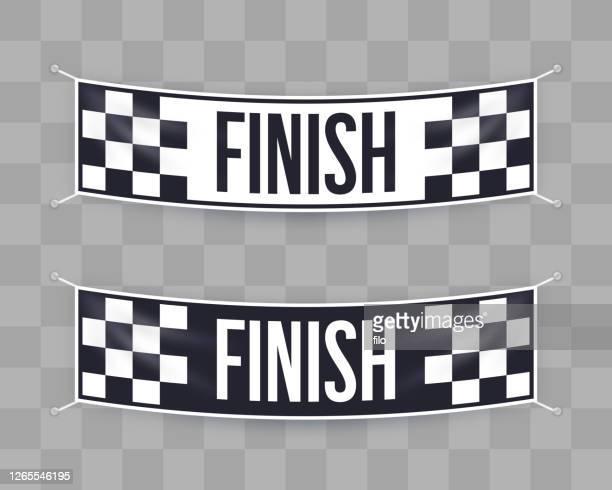 ilustrações de stock, clip art, desenhos animados e ícones de finish line banner sign - final game