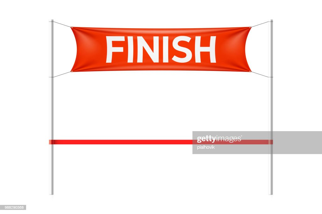 Finish line banner with red ribbon