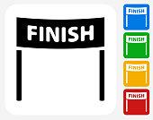 Finish Line Icon Flat Graphic Design