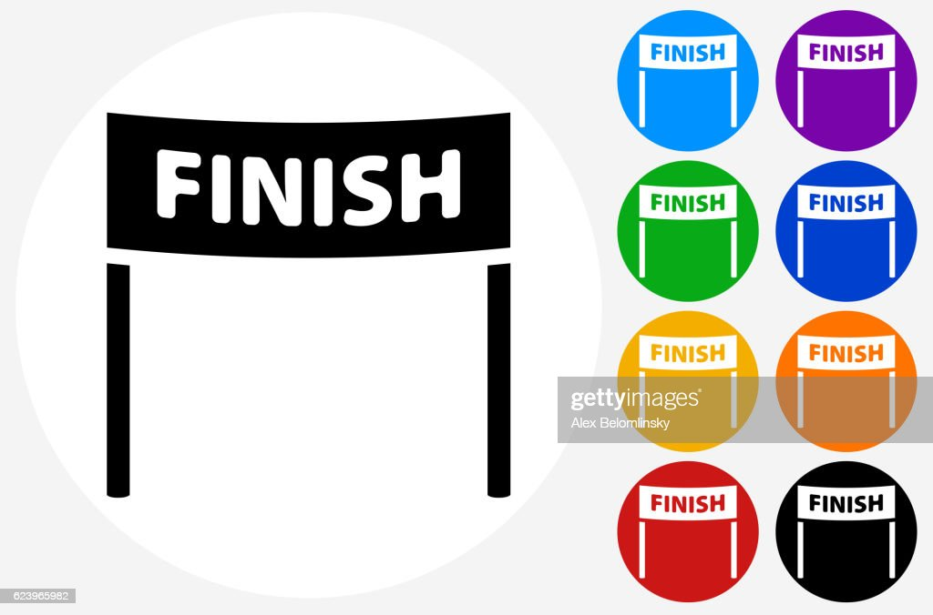 Finish Line Icon on Flat Color Circle Buttons