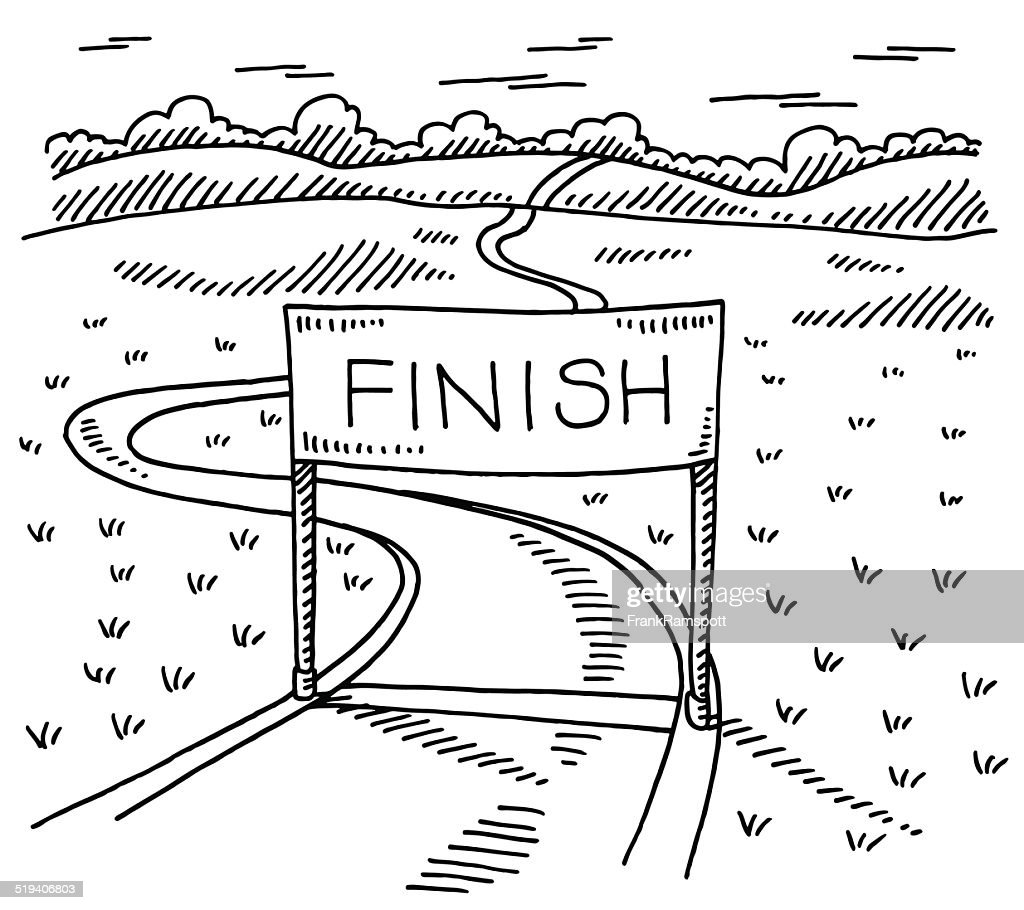 Vector Drawing Lines Html : Finish line path landscape drawing vector art getty images