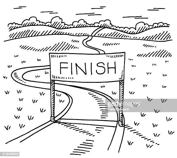 Finish Line Path Landscape Drawing