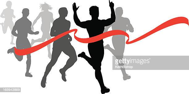 finish line - runner, sprinter, track and field race fitness - 5000 meter stock illustrations