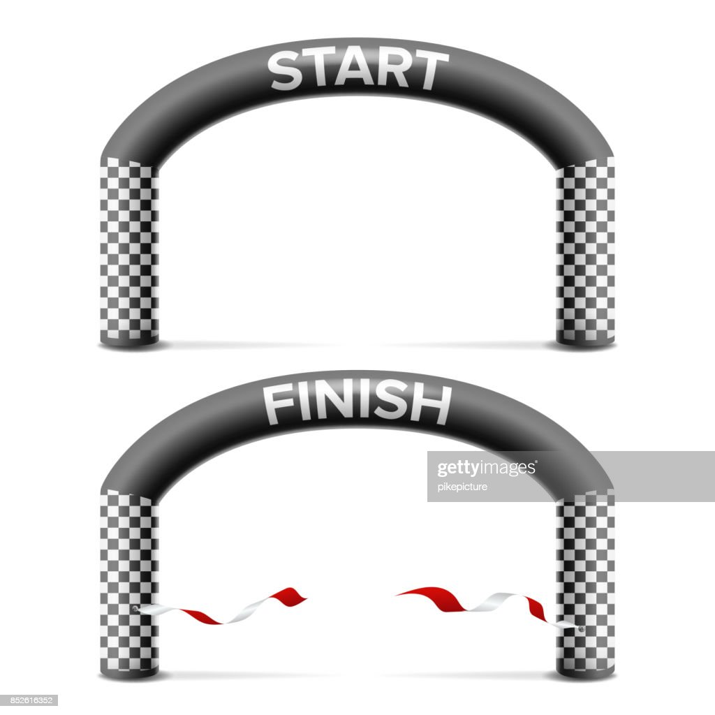 Finish, Start Line Arch Isolated Vector. Sport Event. Triathlon, Skiing, Marathon Racing Concept. Isolated On White Illustration