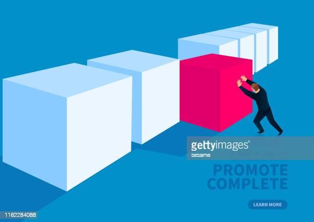 ilustraciones, imágenes clip art, dibujos animados e iconos de stock de terminado, el hombre de negocios trabajó duro para empujar el cubo en una fila - part of a series